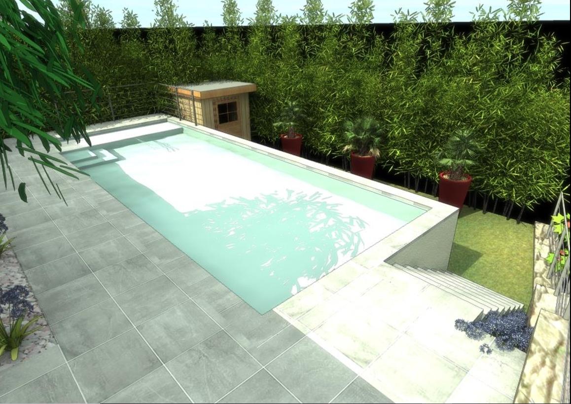Conception 3d d 39 un jardin avec piscine caluire et cuire for Conception piscine