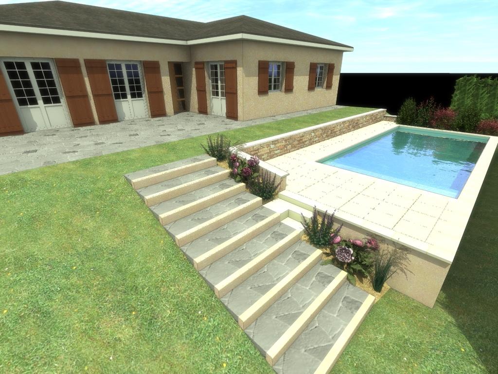 Modélisation 3D de votre projet extérieur avec piscine - Côté Jardin